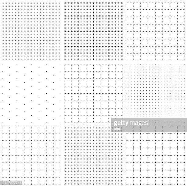 seamless graph paper with dots - grid pattern stock illustrations