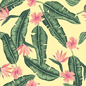 seamless graphical banana leaves with flowers pattern