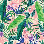 seamless graphical realistic bright tropical nature with flowers pattern