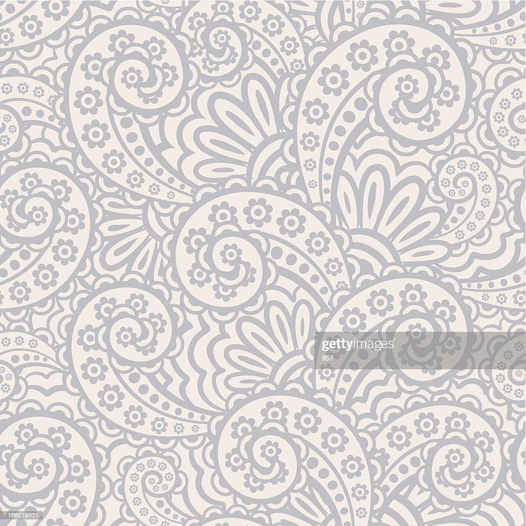 Seamless gray and white paisley pattern