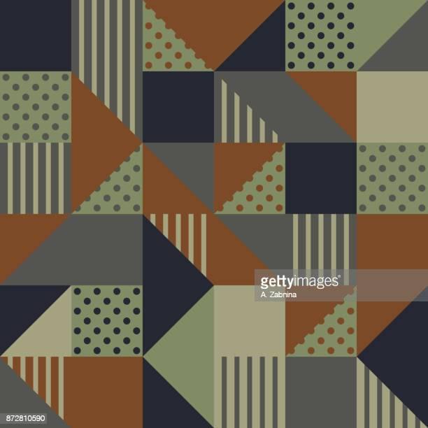 ilustraciones, imágenes clip art, dibujos animados e iconos de stock de sin fisuras patrón geométrico verde y marrón - patchwork
