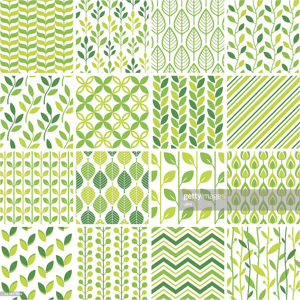 Seamless green graphic pattern set : Vector Art