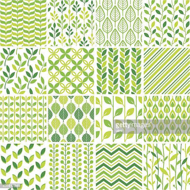 Seamless green graphic pattern set