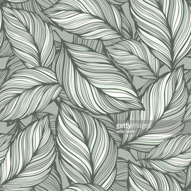 illustrations, cliparts, dessins animés et icônes de feuilles vertes fond sans couture - flore
