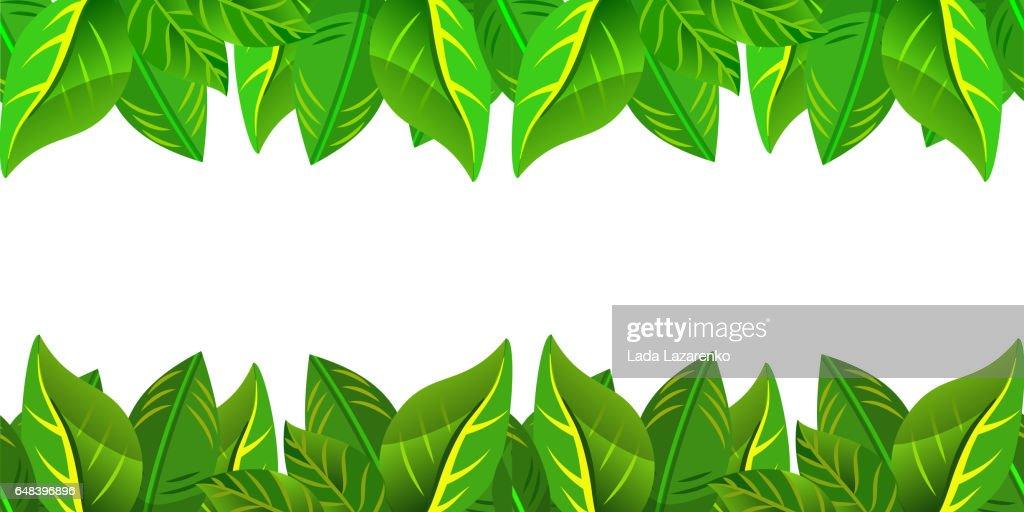 seamless green leaves frame