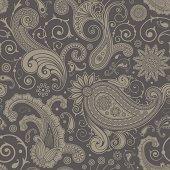 Seamless grey paisley pattern background