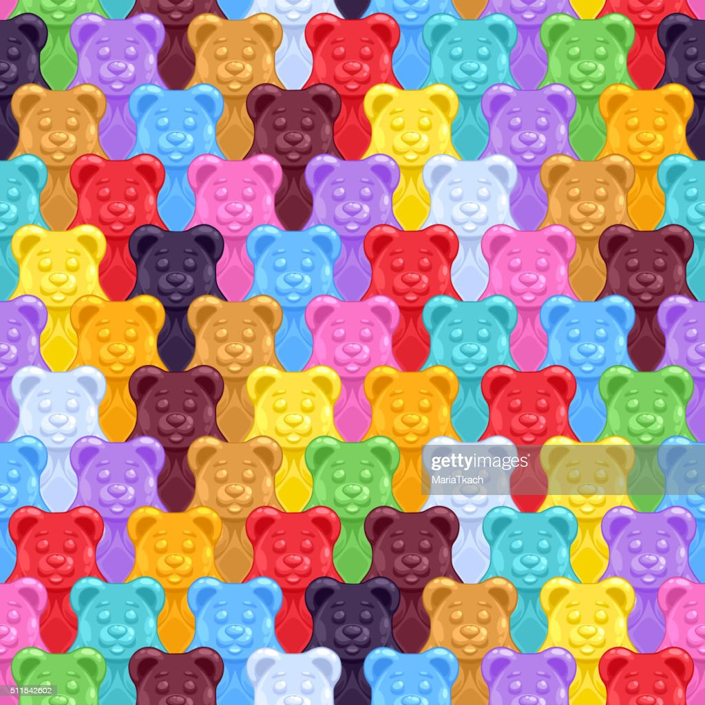 Seamless gummy bears candies background
