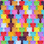 Seamless gummy bears candies background