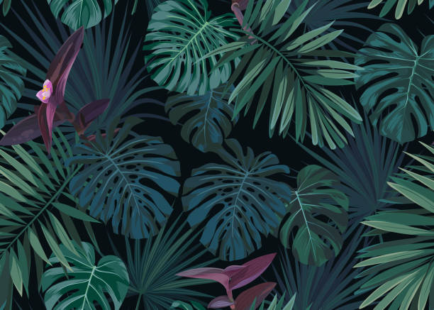 Seamless hand drawn botanical exotic vector pattern with green palm leaves on dark background