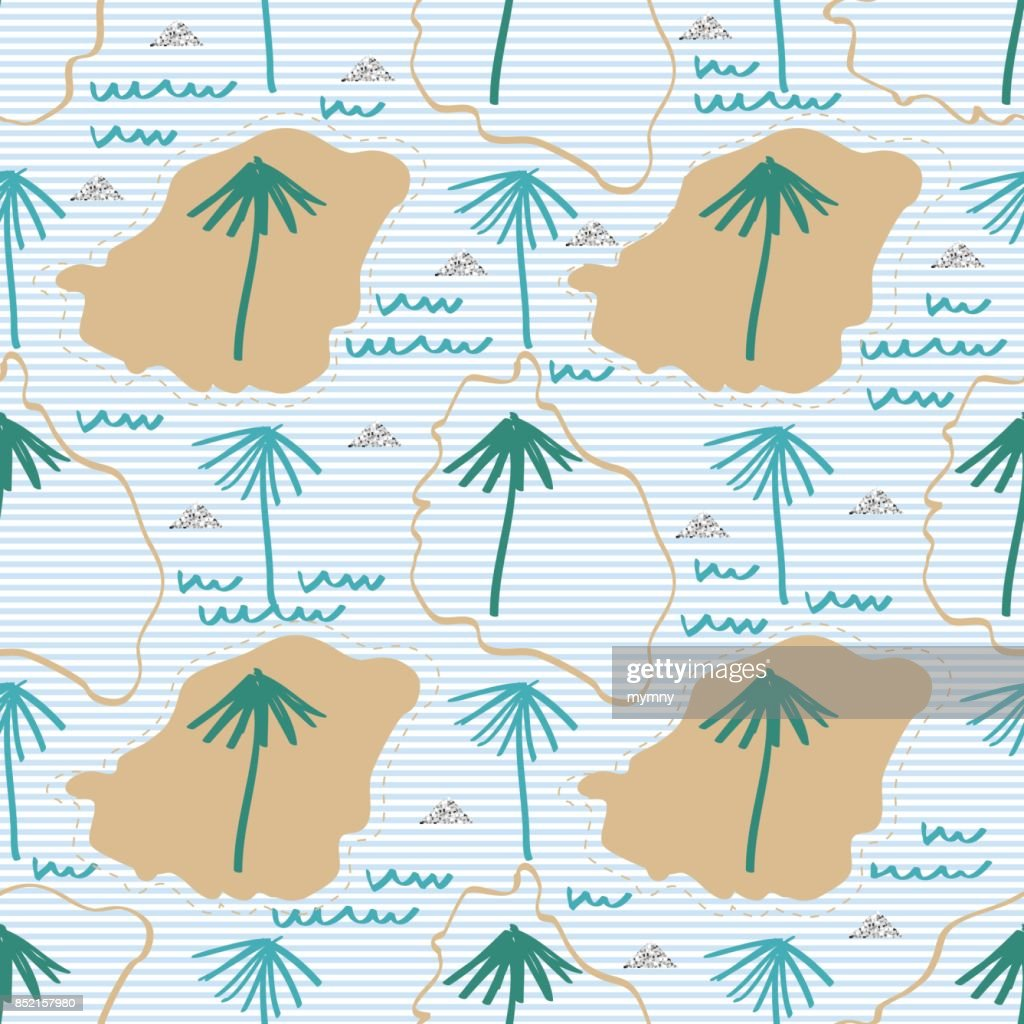 seamless hand drawn island with palm tree , wind , wave and silver glitter pattern on stripe background
