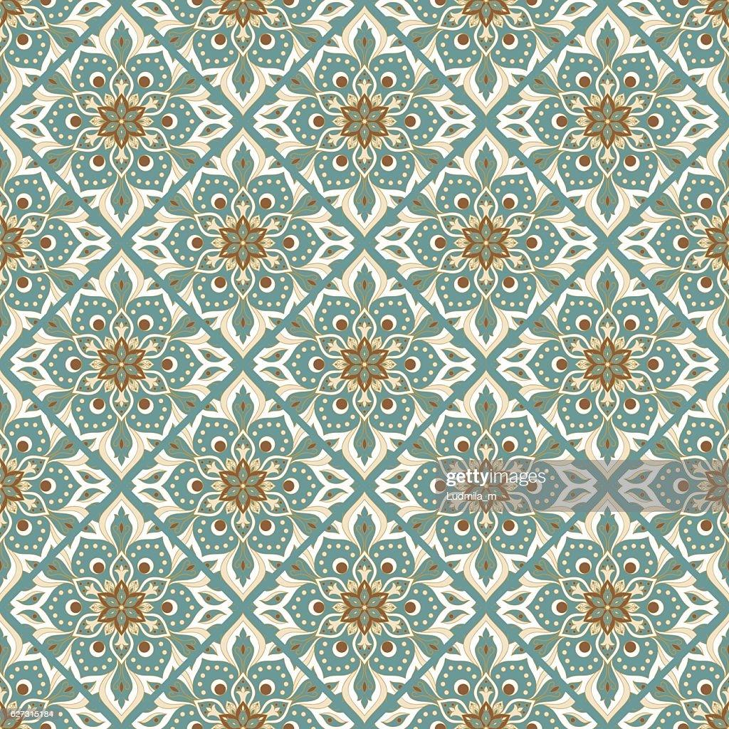 Seamless hand drawn mandala pattern.