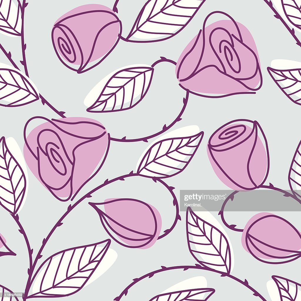 Seamless hand drawn pattern with large pink roses