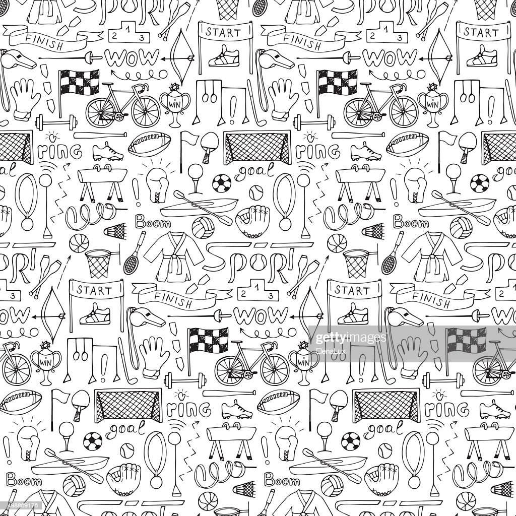 Seamless hand drawn Sport equipment pattern