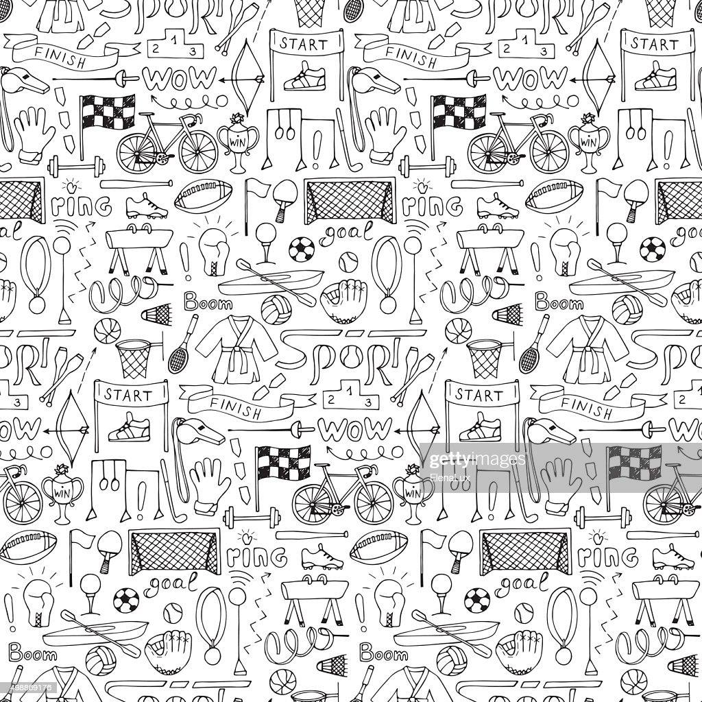 Seamless hand drawn Sport equipment pattern