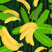 Seamless hand drawn tropical pattern with palm leaves, jungle exotic leaf and banana fruit on dark bamboo background