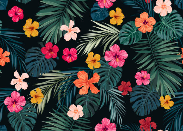 Seamless hand drawn tropical vector pattern with bright hibiscus flowers and exotic palm leaves on dark background