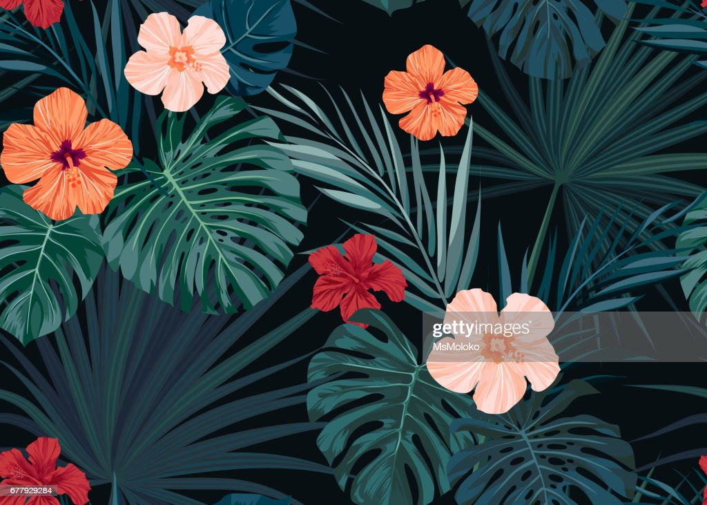 Seamless hand drawn tropical vector pattern with hibiscus flowers and exotic palm leaves on dark background