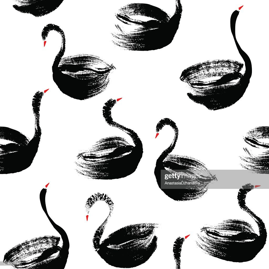 Seamless hand painted black swans pattern.
