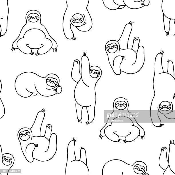 seamless hand-drawn sloth pattern - animal wildlife stock illustrations