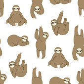 Seamless Hand-Drawn Sloth Pattern