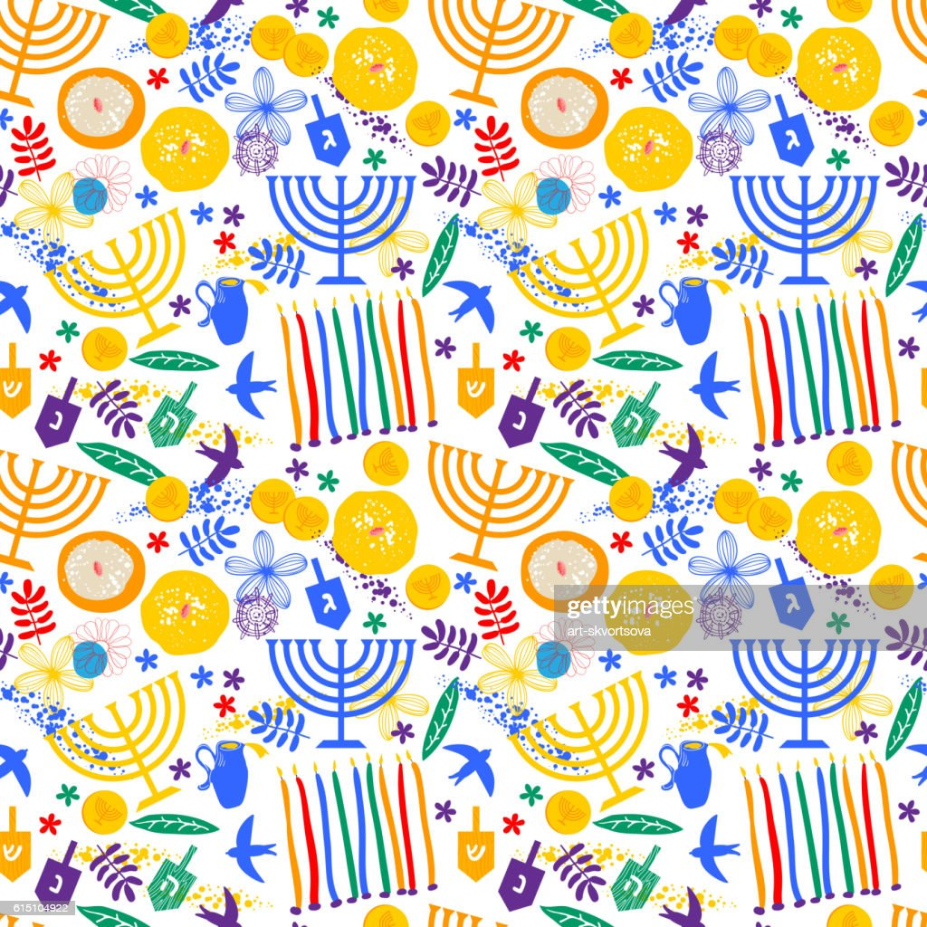 Seamless Hanukkah pattern