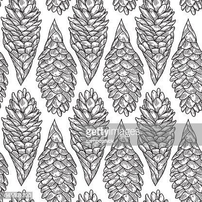 Seamless Hawaiian Ginger Plant Pattern