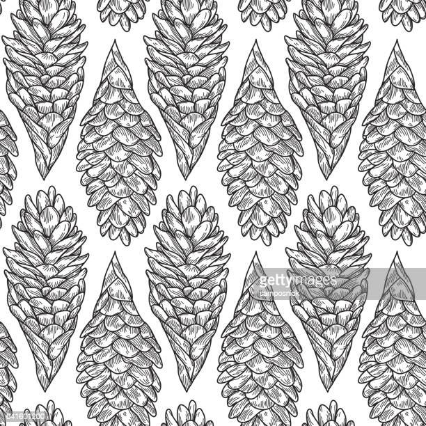 Seamless Hawaiian Ginger Plant Pattern