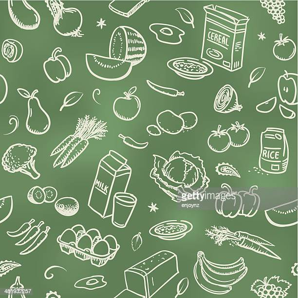 seamless healthy food background - organic stock illustrations, clip art, cartoons, & icons