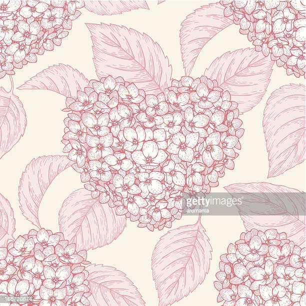 Seamless Hearts of Hydrangeas