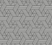 Seamless Hexagon pattern in rattan style, vector