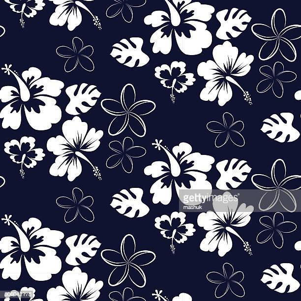 seamless hibiscus - bali stock illustrations