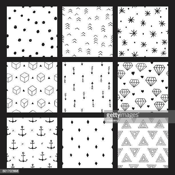 Seamless hipster pattern set