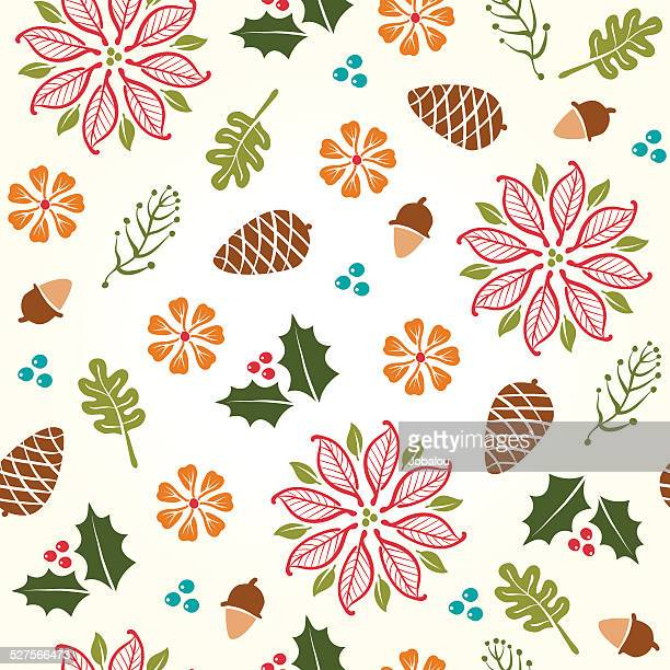 seamless holiday drawings - pine cone stock illustrations, clip art, cartoons, & icons