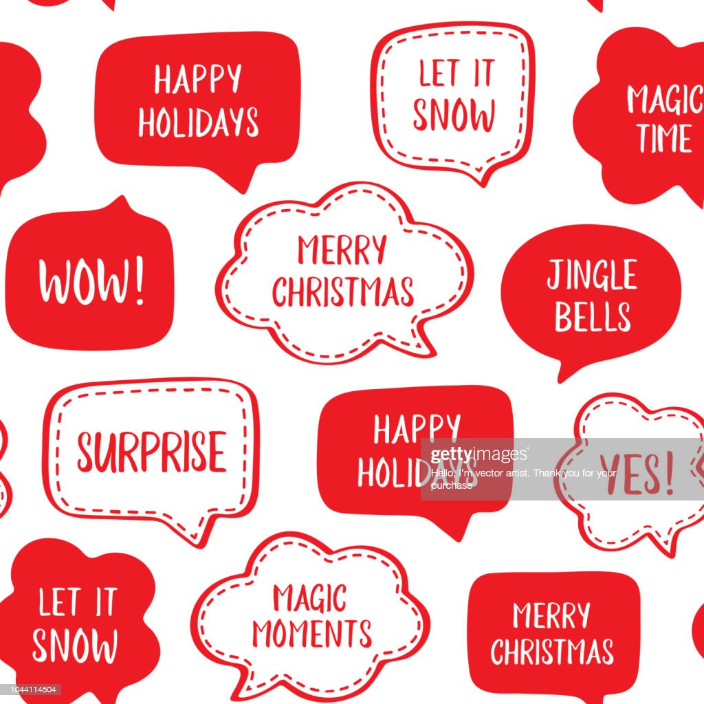 Seamless holiday pattern of vector red speech bubbles with greetings