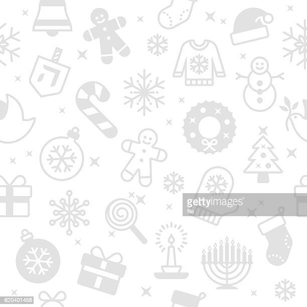 Seamless Holiday Symbols and Icons Background