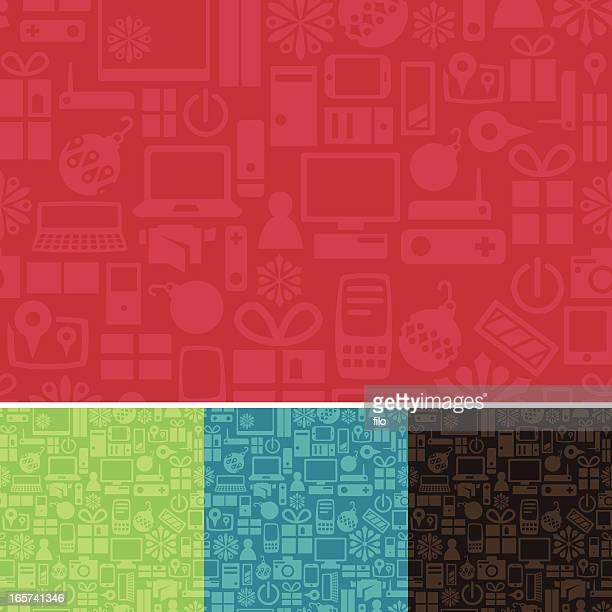 nahtlose weihnachten tech-hintergrund - electronic organizer stock-grafiken, -clipart, -cartoons und -symbole