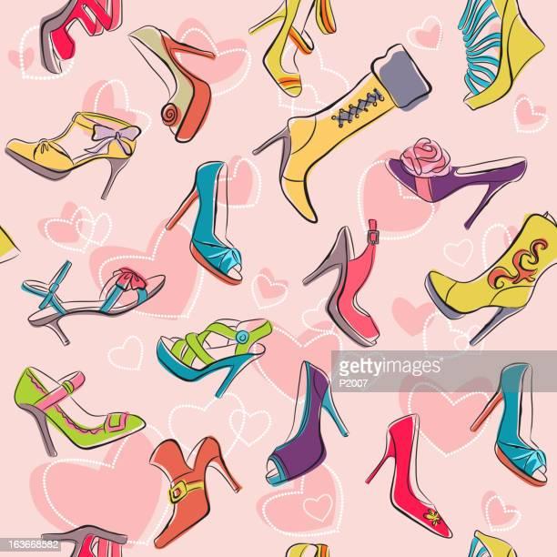 "seamless ""i love shoes"" pattern - pump dress shoe stock illustrations"