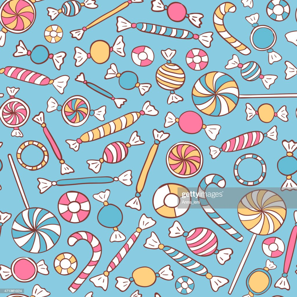 Seamless illustrated sweets on a blue background