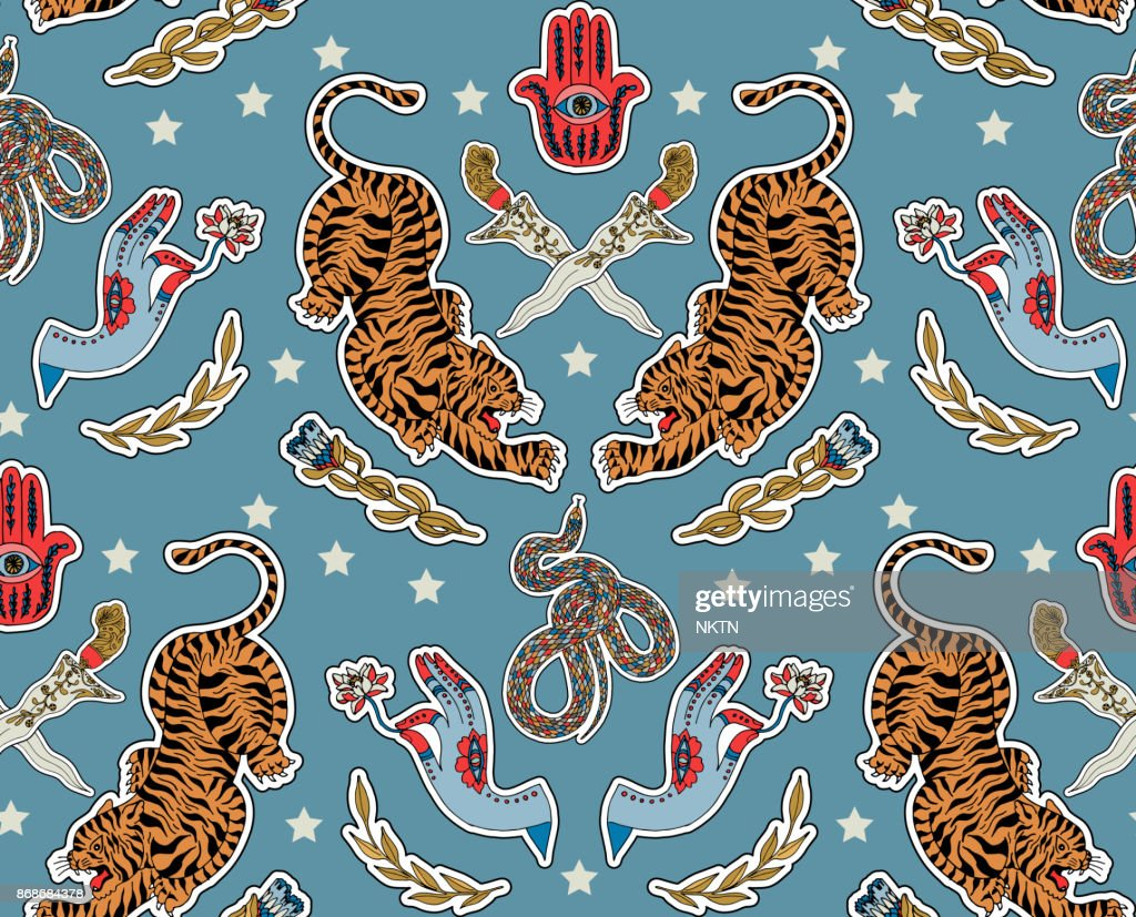 Seamless indian pattern. Set of stickers, pins, patches and handwritten notes collection in cartoon.Tiger, sword, hamsa, flower, plant. Vector illustration
