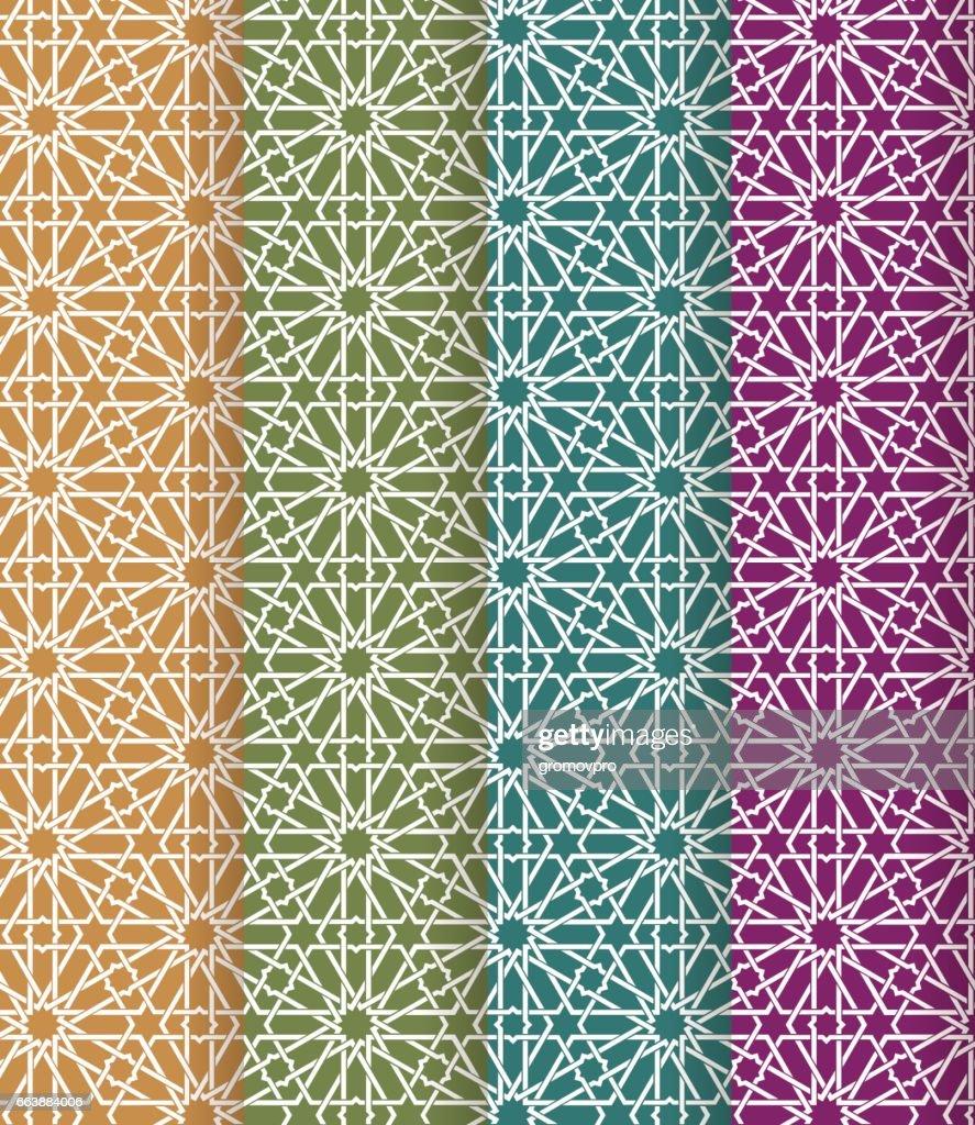 Seamless islamic Moroccan pattern set. Arabic geometric ornament. Muslim texture. Vintage repeating background. Vector blue wallpaper. Oriental design and Ramadan wallpaper
