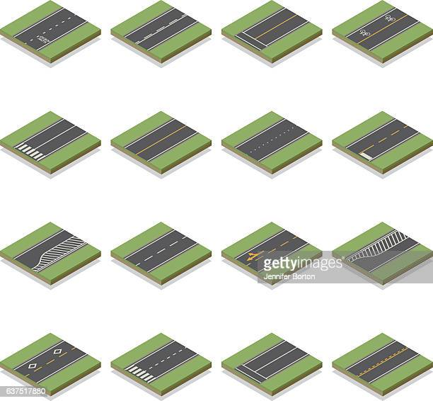 seamless isometric road construction tiles kit - turn signal stock illustrations, clip art, cartoons, & icons