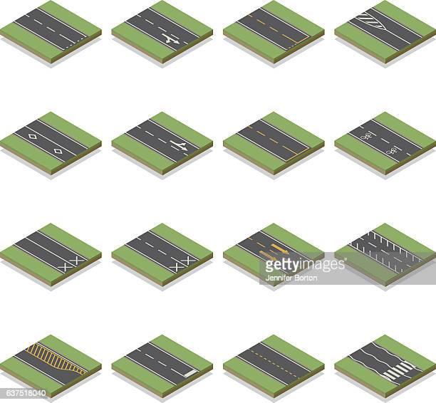 seamless isometric road construction tiles kit - turn signal stock illustrations, clip art, cartoons, & icons