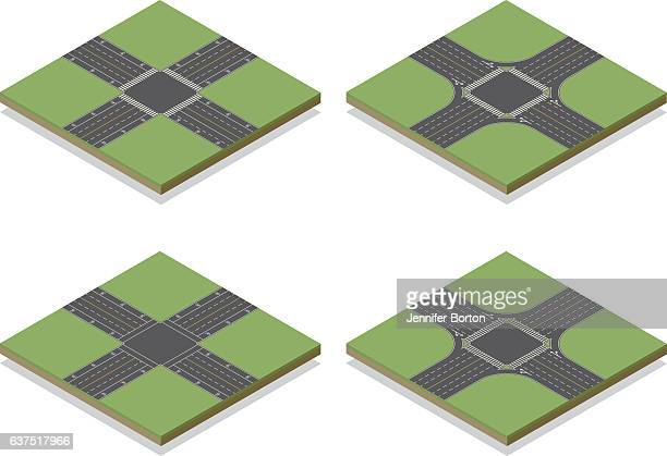 seamless isometric road intersection construction tiles kit - turn signal stock illustrations, clip art, cartoons, & icons