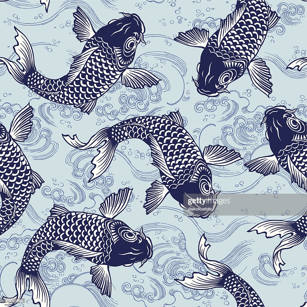 Seamless Japanese carp pattern background