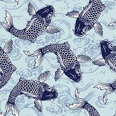 Seamless Japanese carp pattern background