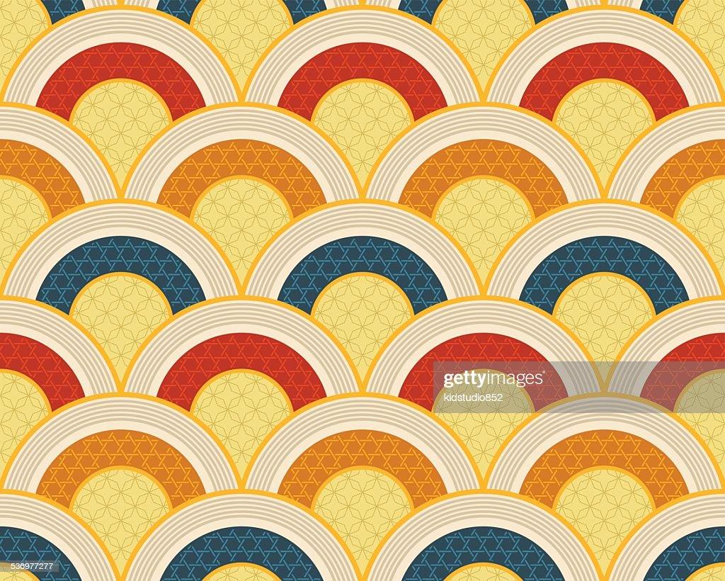 seamless japanese scallop wave pattern