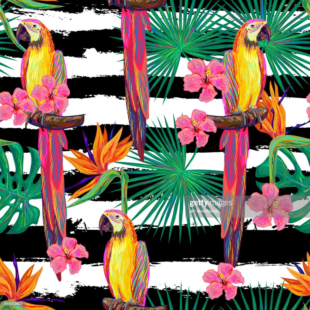 Seamless jungle pattern with parrot exotic bird