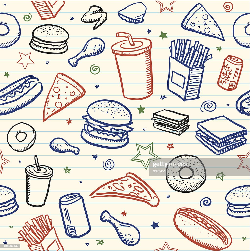 Seamless Junk Food Background Vector Art Getty Images