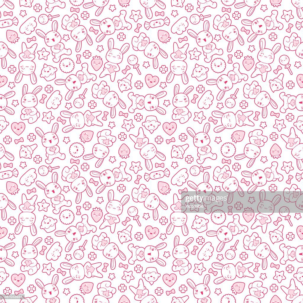 Seamless kawaii child pattern in pink and white