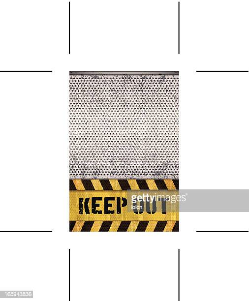 seamless keep out warning sign with metal grid